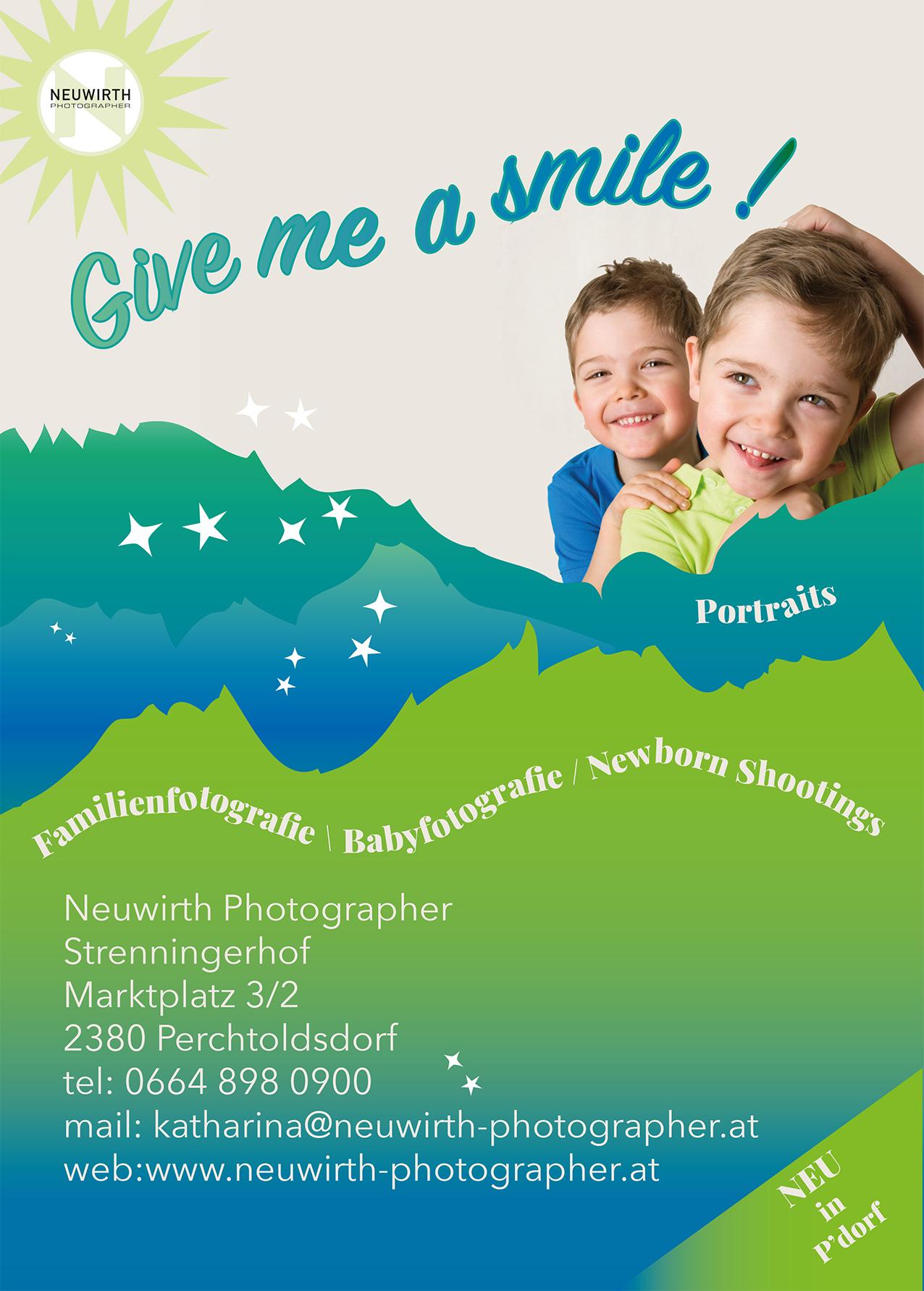 lachende Kinder; Busposter ; Werbung für FamilienfotografieNeuwirth;